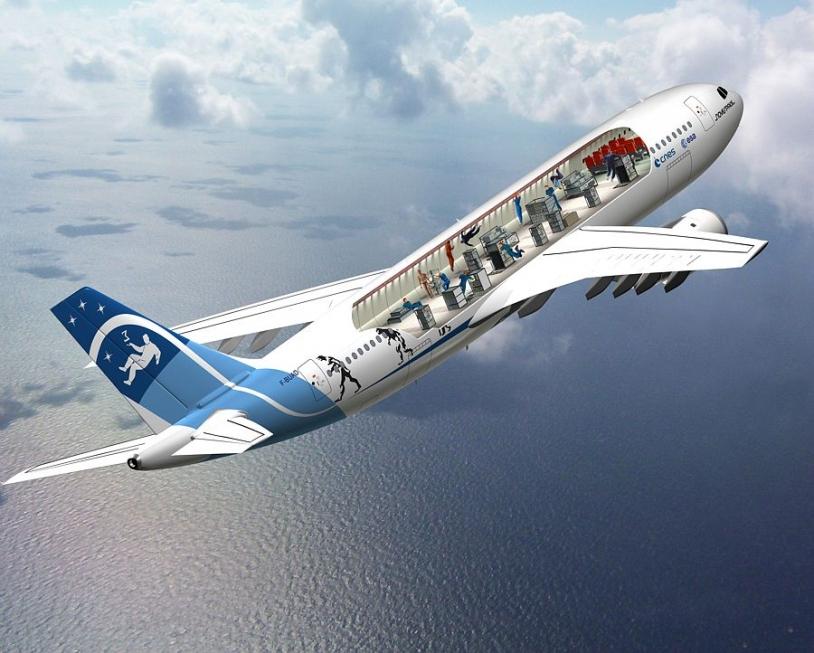Illustration de la parabole de l'avion 0g