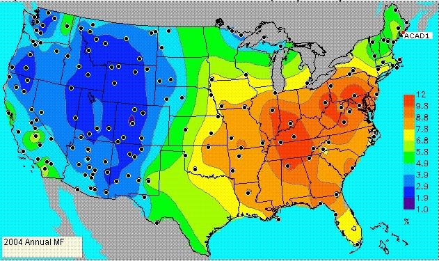 D'après les données du satellite GOES, une carte de la distribution des aérosols aux Etats-Unis en 2004 © NOAA