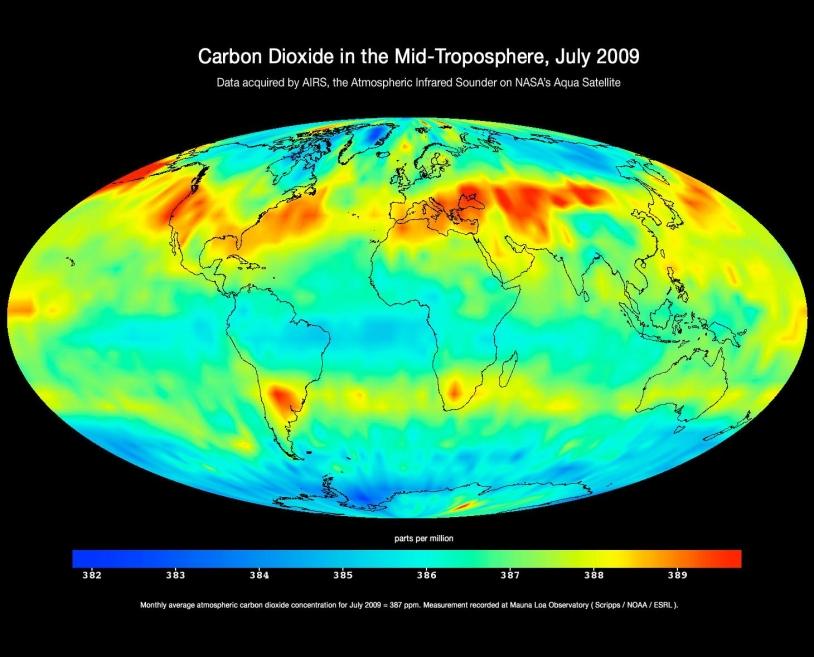 Répartition du CO2 en juillet 2009, données du satellite Aqua © NASA