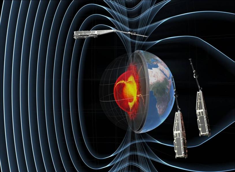 Constellation des 3 satellites Swarm pour l'étude du champ magnétique terrestre © ESA/AOES Medialab