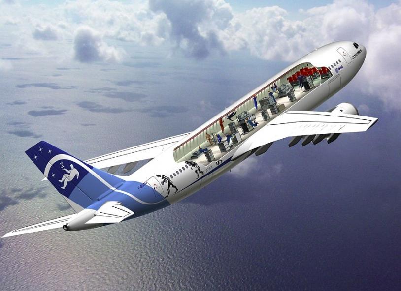 Vue intérieure de la cabine aménagée de l'Airbus A300 Zéro-G. Crédits : Novespace.